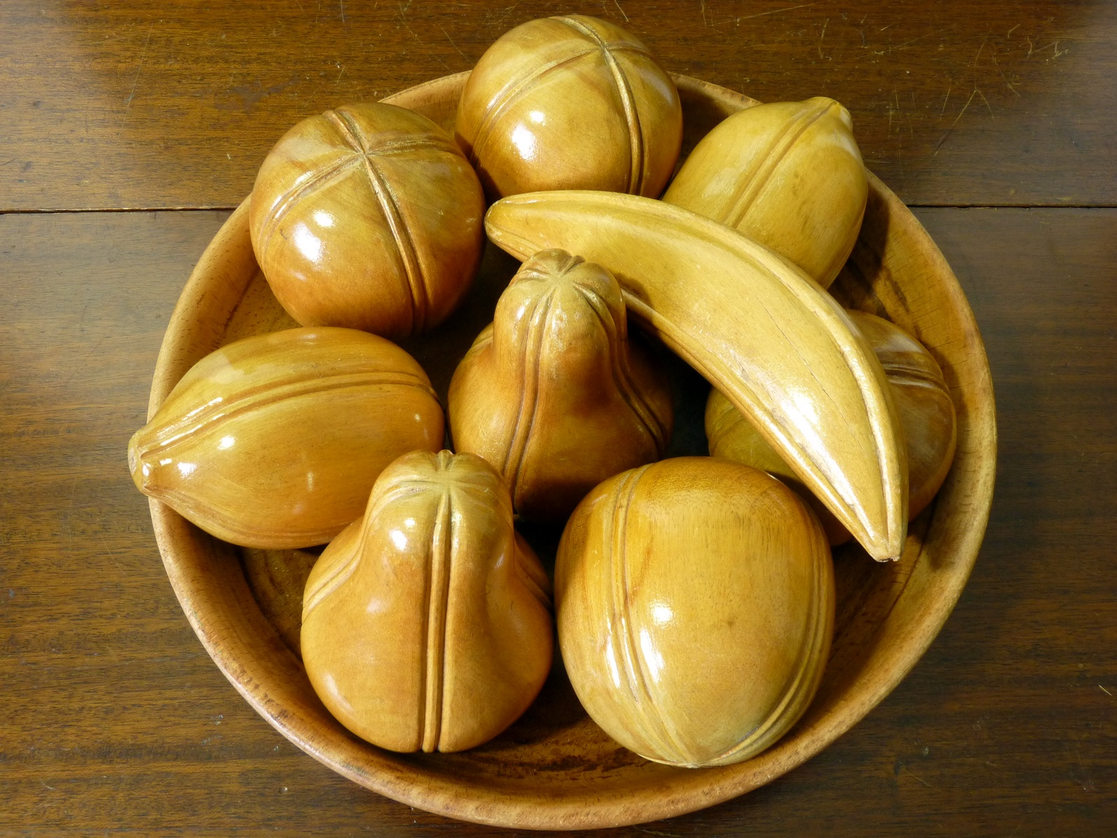 Set of Turned and Carved Wooden Fruit