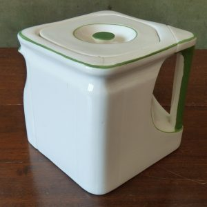 "Deco Foley China ""The Cube"" Teapot in Green and White"