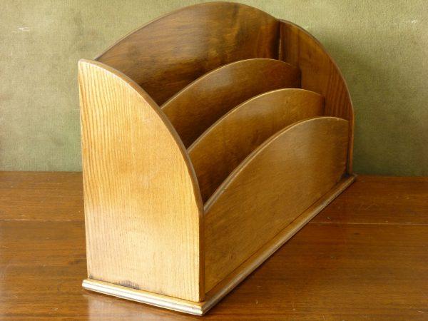 Vintage Large Wood Desk Letter Rack Organiser