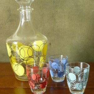 Verrerie Cristallerie D'Arques Funky Liqueur Glasses and Decanter Set