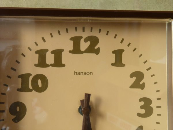 Square Brown Hanson Kitchen or Wall Clock