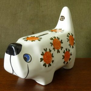 Arthur Wood Vintage Flower Pattern Dog Money Box