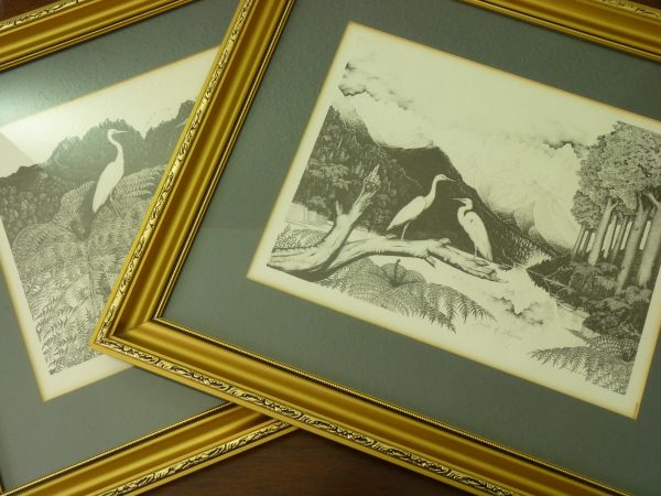 Pair of Rei Hamon Signed Pointillist Landscape Prints