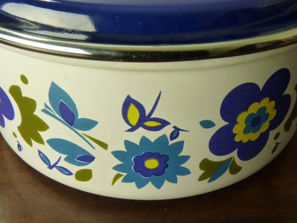 Paragon Pyramid Enamel Lidded Dish with Flower and Butterflies Design