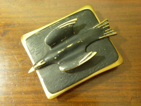 Dayagi Mid Century Brass and Enamel Bird Design Box