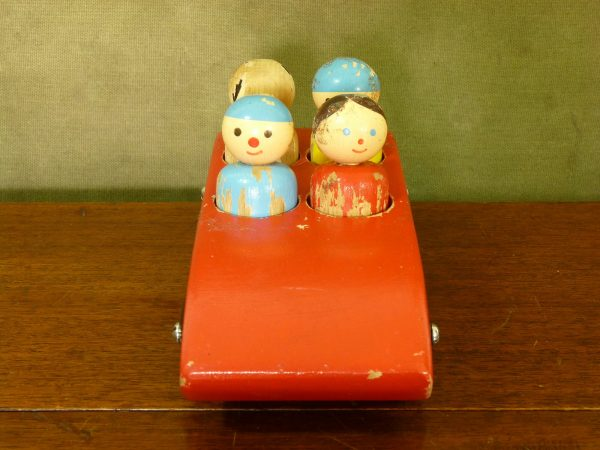 Vintage Escor Red Wooden Toy Car with Figures
