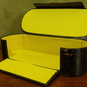 Antique Leuchars & Son Leather Case Relined Mustard Yellow