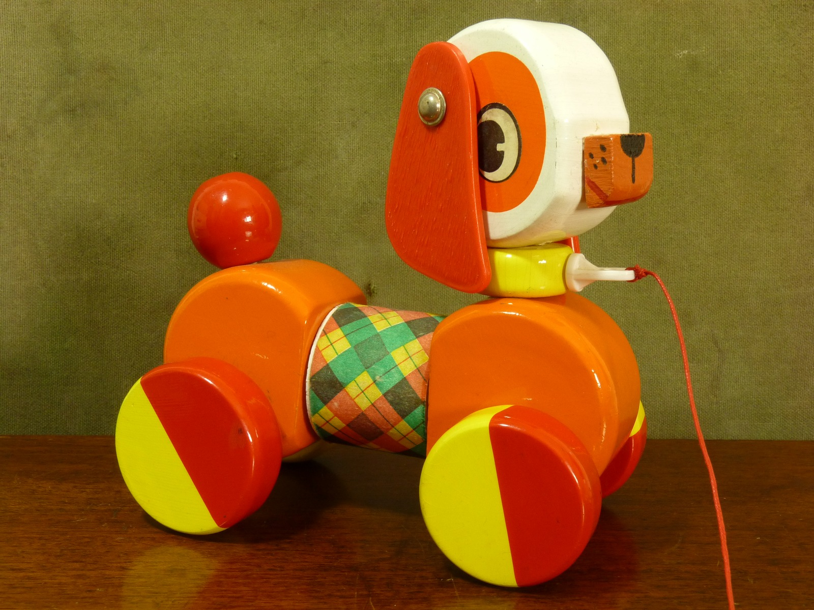 Vintage French Educalux Colourful Pull-Along Wooden Dog Toy