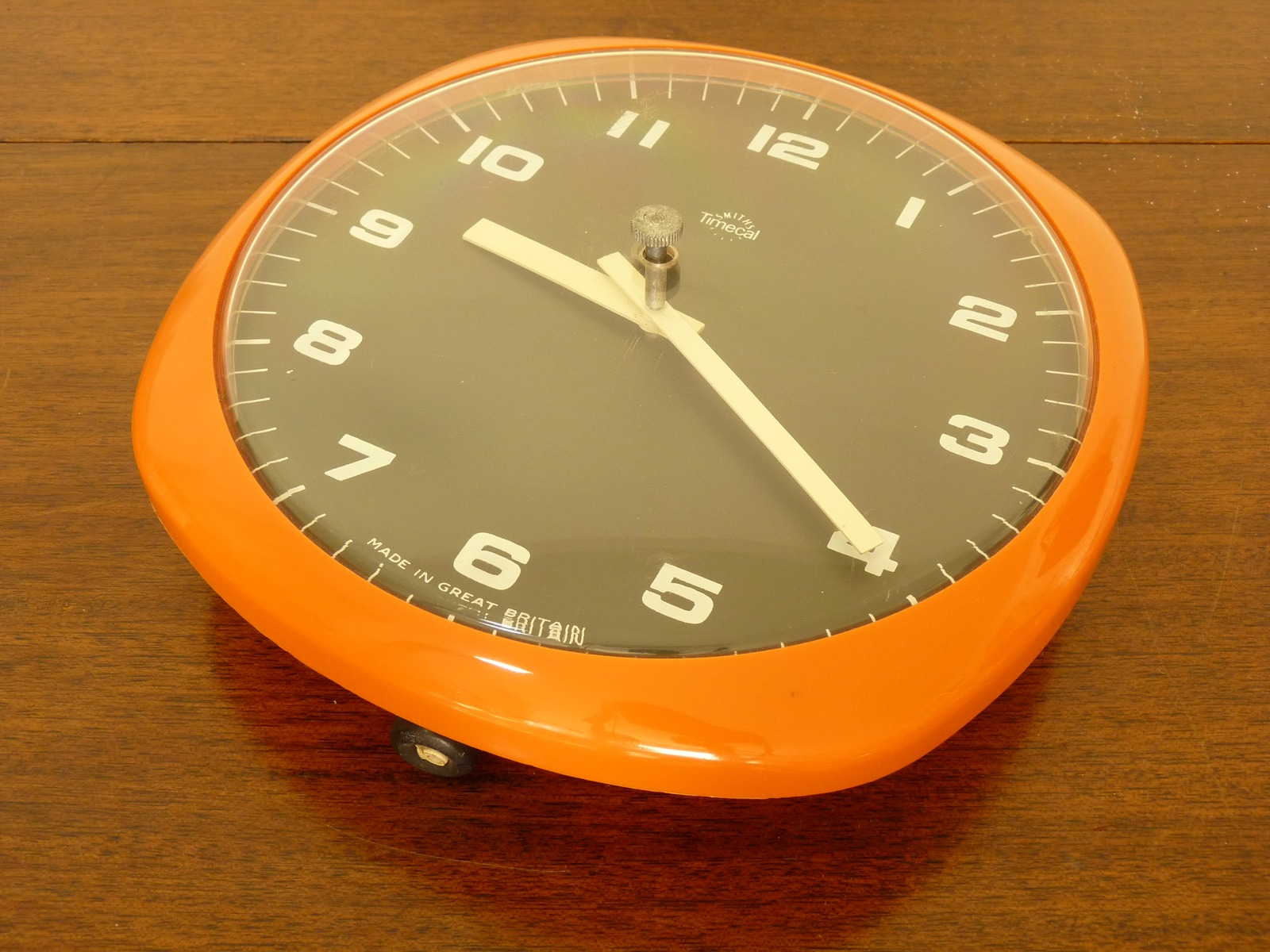 Vintage Orange Smiths Timecal Dulcet Pull Cord Wind Wall Clock