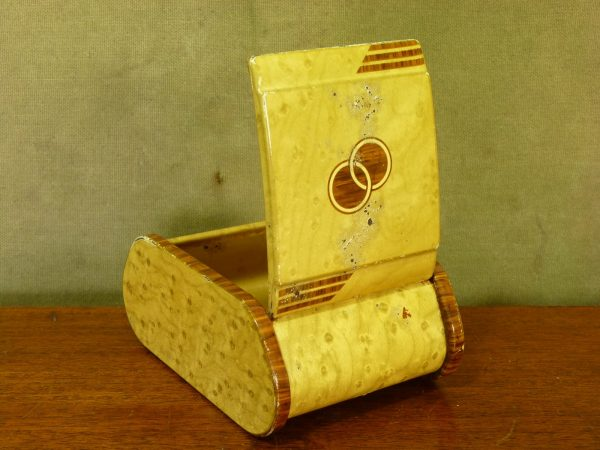 Art Deco Faux Wood Metal Cigarette Box
