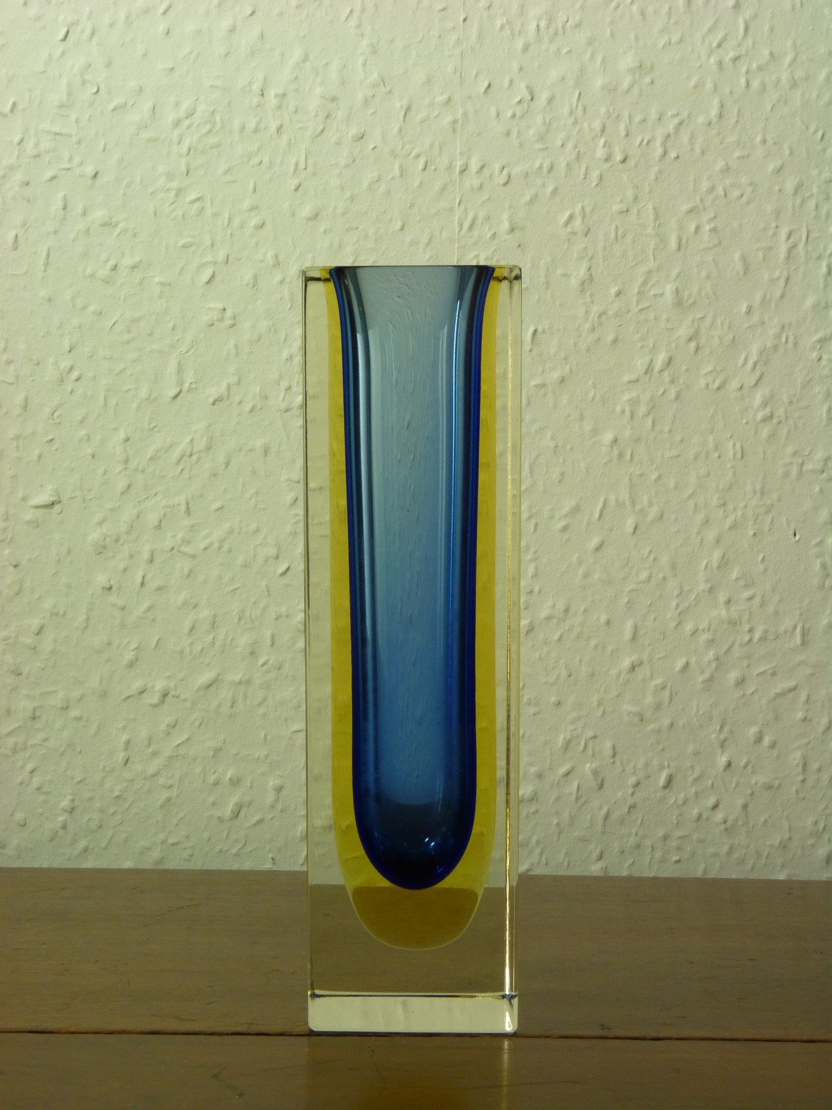 Vintage Italian Sommerso Triple Colour Square Glass Vase