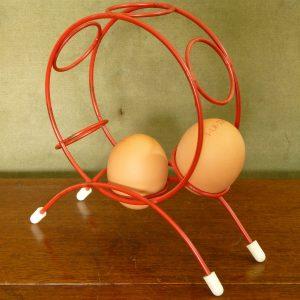 Genuine Vintage Atomic Red Wire Egg Holder