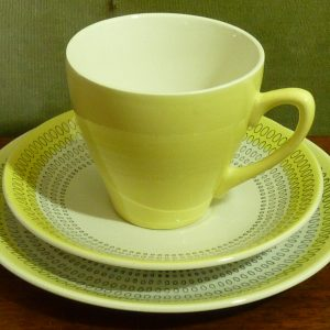 Vintage Pale Yellow Crown Clarence Ironstone Trio Cup Saucer Side Plate