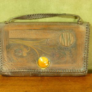 French Art Nouveau Design Leather Clutch Bag by Brevete