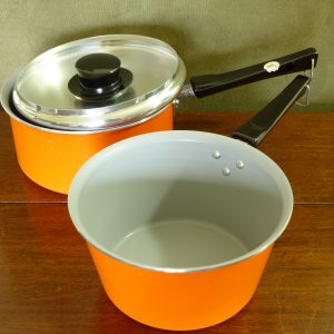Vintage Bright Orange Tefal Aluminium Pans (Pair / One Lidded)