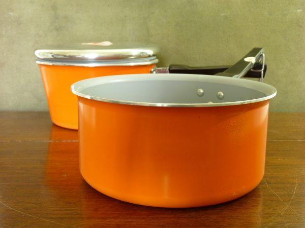 Vintage Bright Orange Tefal Aluminium Pans (Pair / One Lidded)