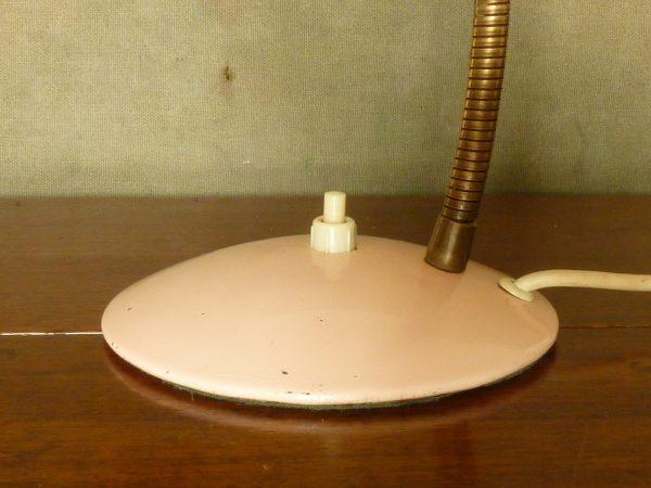 Vintage Pale Pink Gooseneck Desk or Bedside Lamp Perforated Shade