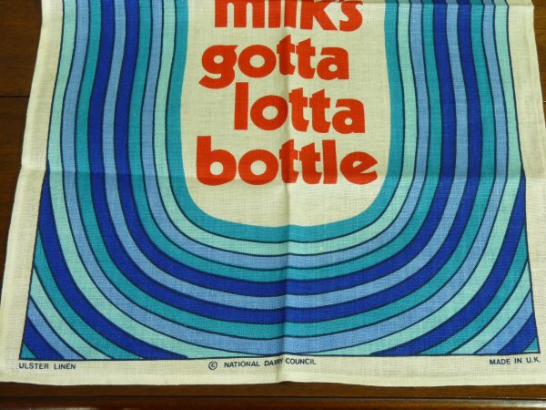 Genuine Northern Irish Linen Fresh Milk's Gotta Lotta Bottle Tea Towel