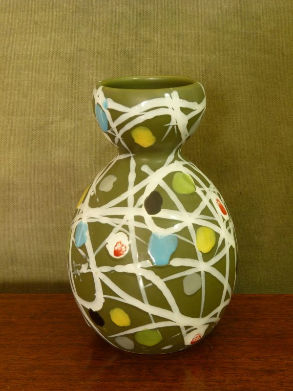 Multicoloured Abstract Olive Green Vase Form 8013 by Fratelli Fanciullacci