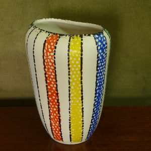 1950s handpainted colourful stripes flattened vase