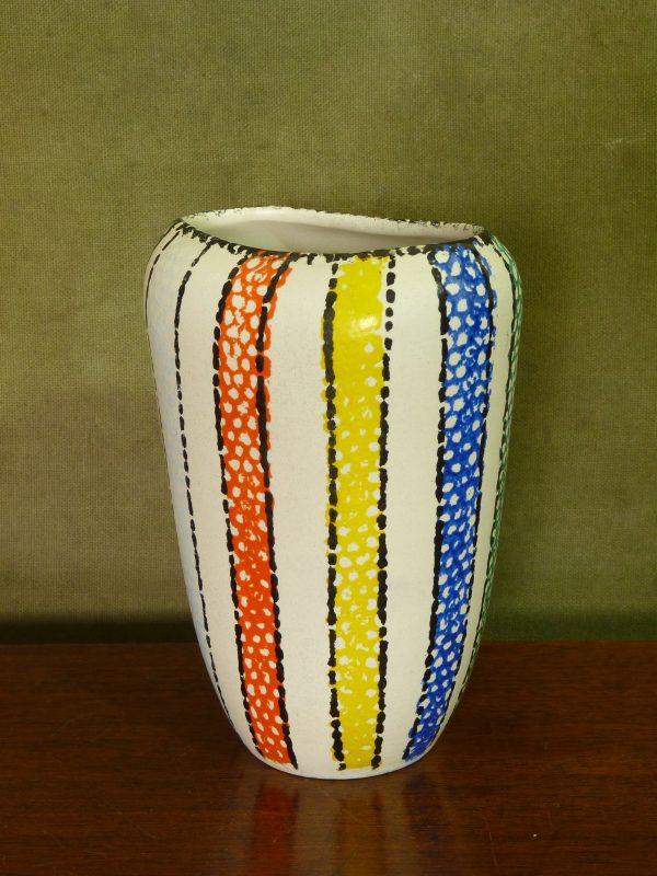1950s handpainted colourful stripes flattened vase