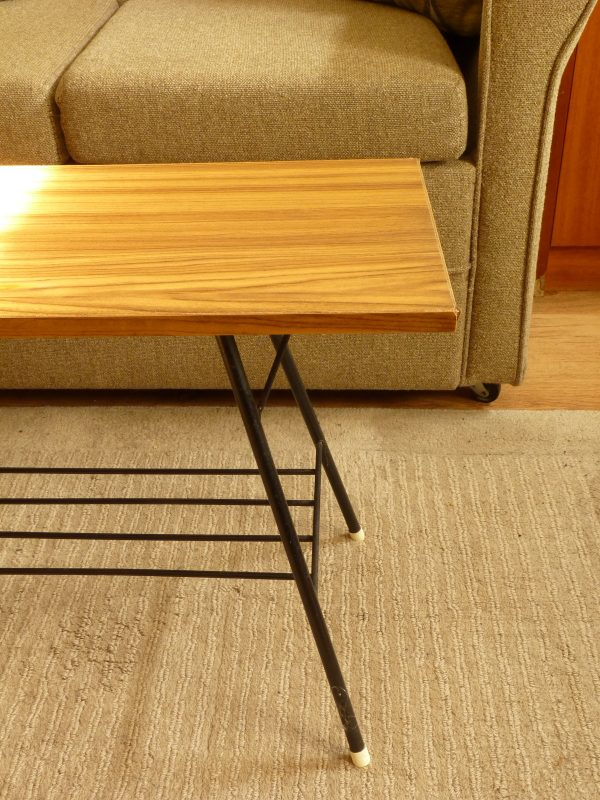Small Atomic Style Side Table or Coffee Table with Magazine Shelf