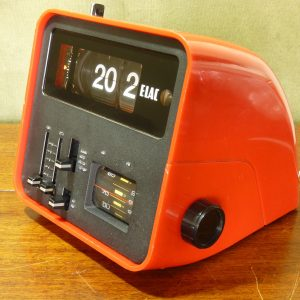 Early 1970s German Red ELAC RD-100 Flip Clock Radio