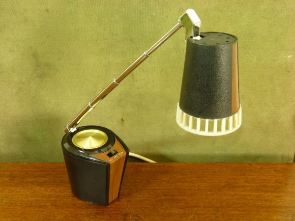 Unusual Small Japanese Telescopic Desk Lamp in Black and Faux Wood