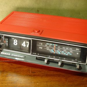 1970s Red Sanyo Stereocast RM5430 Flip Clock Radio with Alarm