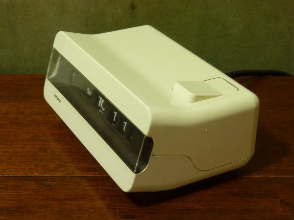 West German Krups Type 621 White Flip Clock with Day/Date Display