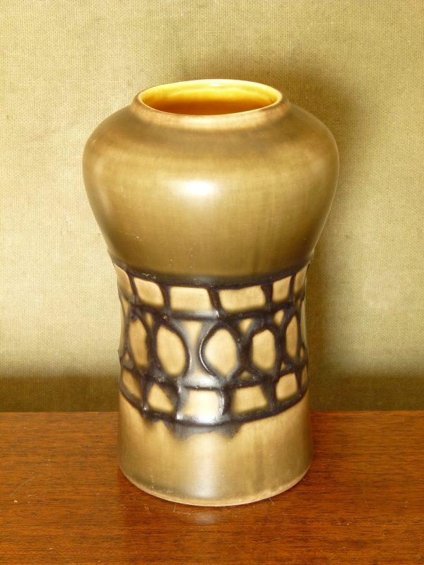 Small Bay Keramik West German Vase in Brown, Yellow and Black 511-14