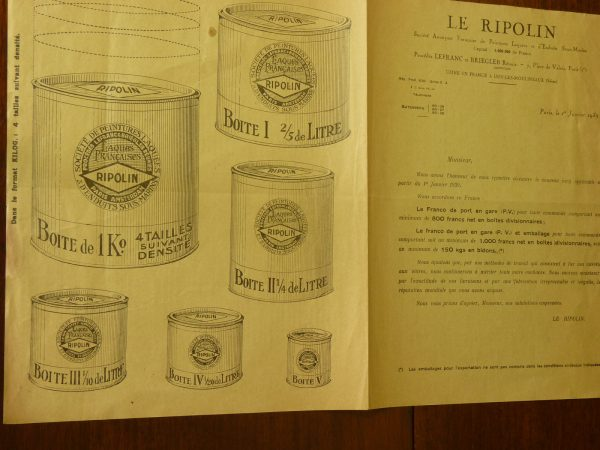 """Vintage 1939 French """"Ripolin"""" Paint Illustration and Price List"""