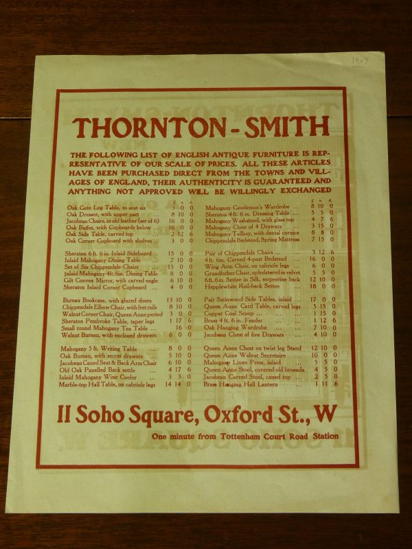 Original Advert for Thornton-Smith Antiques Furniture Soho Square London