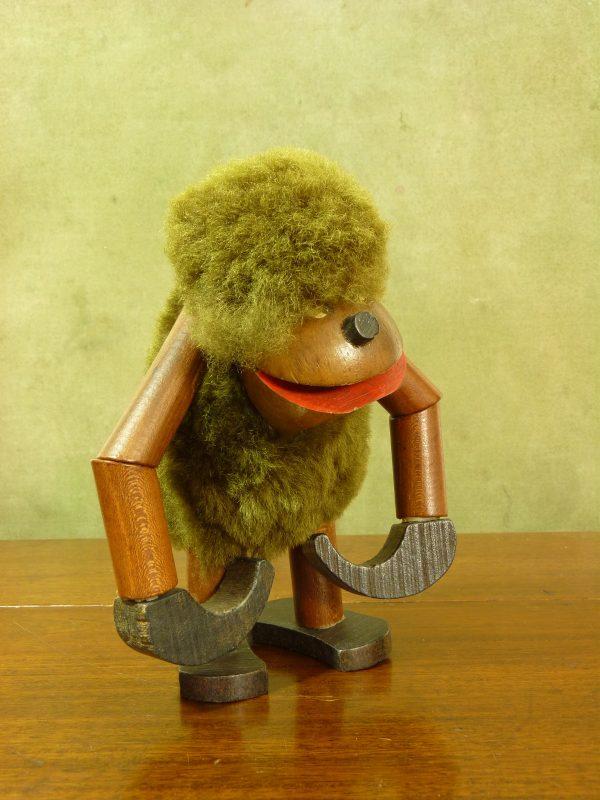 Vintage Danish Kay Bojesen Hanging Fur and Teak Wood Figure