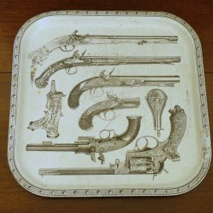 1950s-1960s Piero Fornasetti Pistols Metal Serving Tray