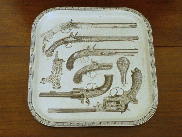 1950s-1960s Piero Fornasetti Pistols Metal Serving Tray