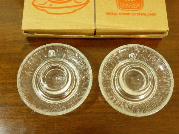 Vintage Boxed Handmade Cascade Glass Egg Saucers (Pair)