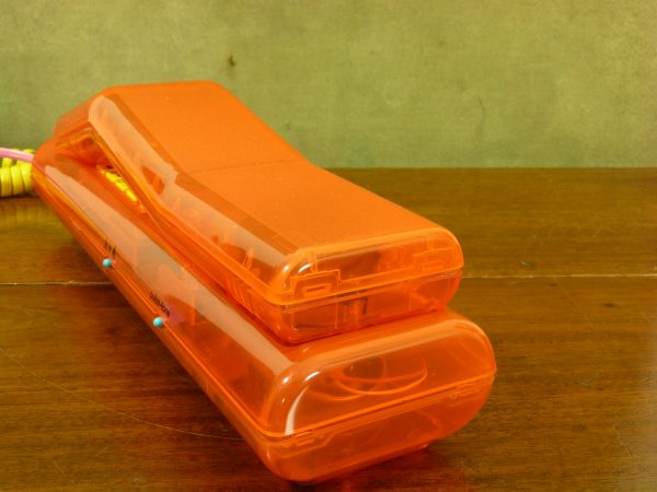 Transparent Orange Swatch Twin Phone with Yellow Highlights