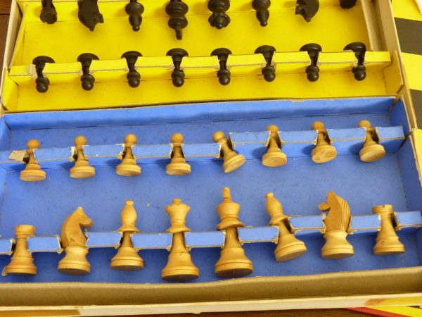 Vintage Codeg Chess Set with Non-Creased Board and Carved Wood Pieces