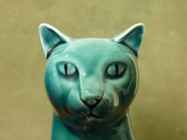 Poole Pottery Teal Sitting Siamese Cat Figurine