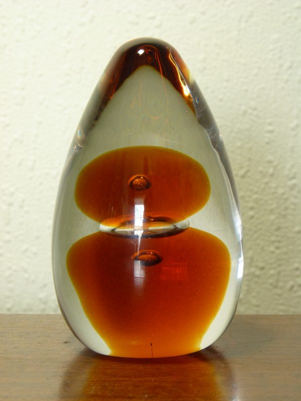 Vintage 1970s Wedgwood Topaz Amber Domed Paperweight
