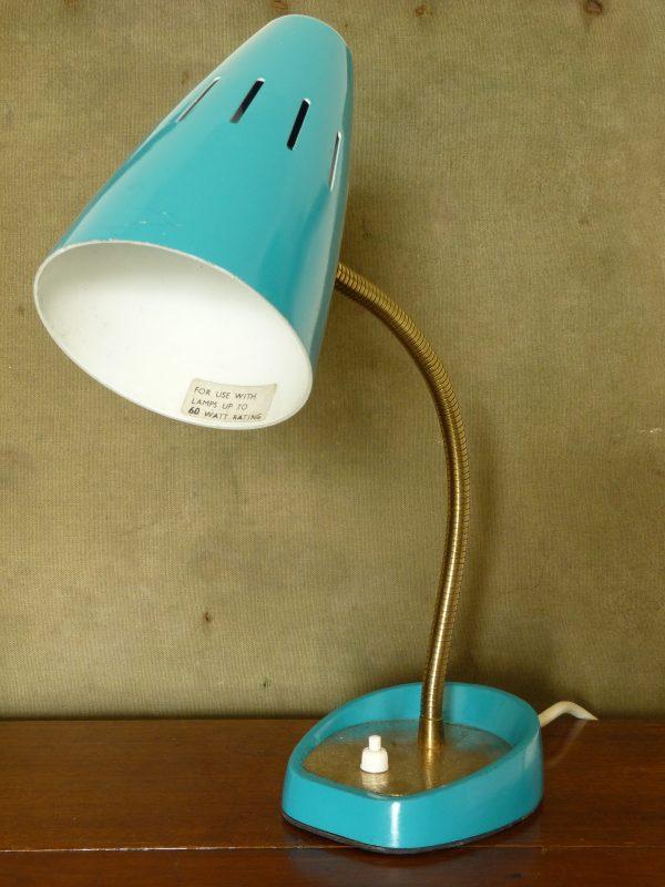 Vintage Blue Pifco Model 971 Classic Gooseneck Desk Lamp